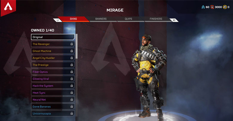 Character: Mirage - Apex Legends.