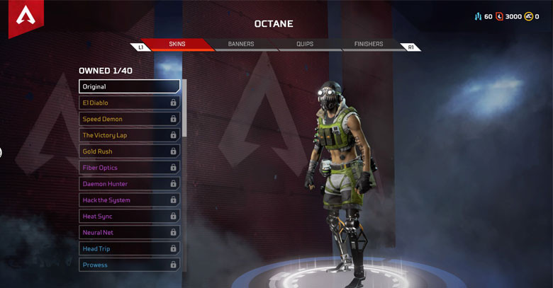 Character: Octane - Apex Legends.
