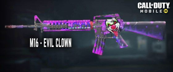 Evil Clown M16 Skin in Call of Duty Mobile.