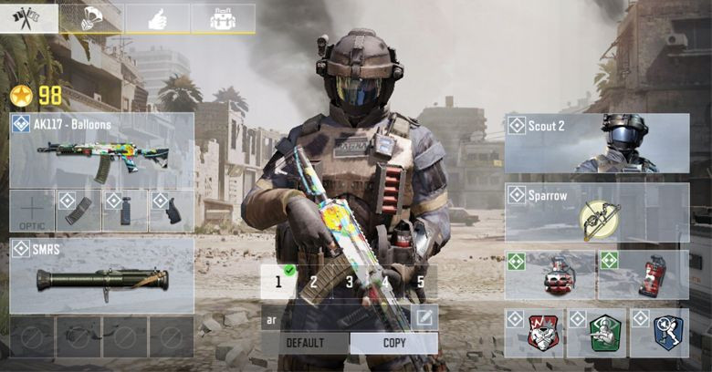 Loadout for Multiplayer Rank Match in Call of Duty Mobile.