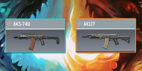 The comparison between AKS-74U and AK117 in Call of Duty Mobile.