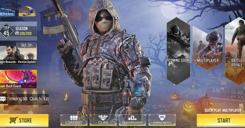 Halloween background main menu in Call of Duty Mobile new update.