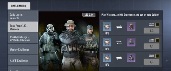 COD Mobile Task Force 141 Warzone Event Tab - Unlock Price, Ghost, or Gaz for free using Warzone coin - zilliongamer