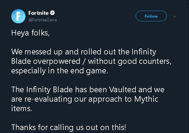 Tweet by Dev Team involving with Vaulted The Infinity Blade | Fortnite