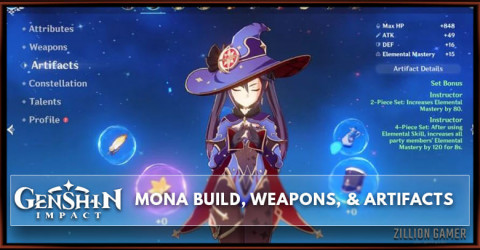 Mona Build, Weapons, & Artifacts