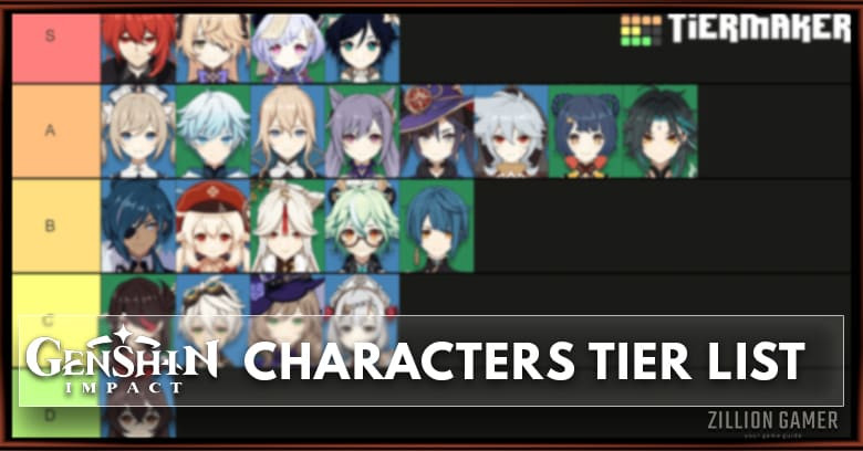 Best Character In Genshin Impact Tier List Zilliongamer