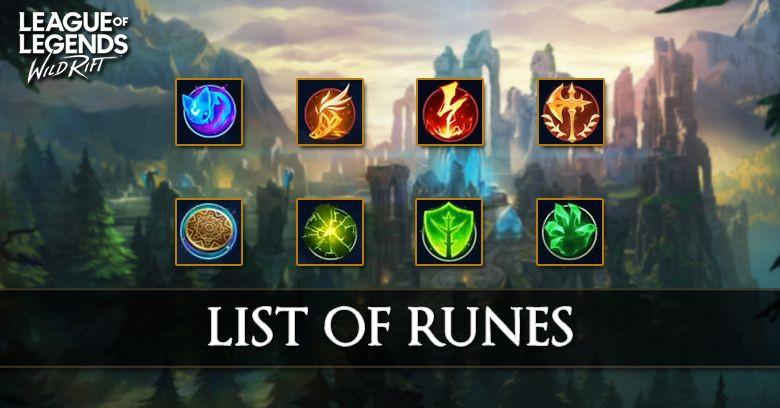 List Of Runes League Of Legends Wild Rift Zilliongamer