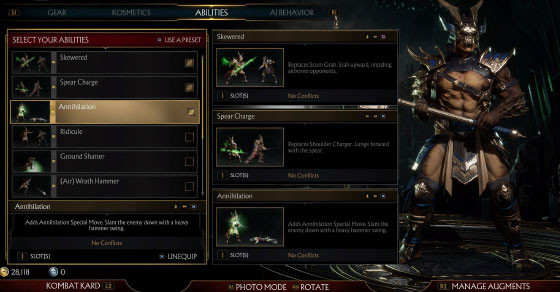 Here's how you can check and change character abilities in Mortal Kombat 11