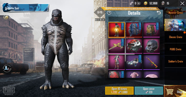 Godzilla Suit Crate in PUBG MOBILE.