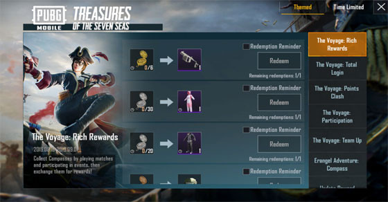 Reward List from Treasure Of The Seven Sea | PUBG MOBILE - zilliongamer