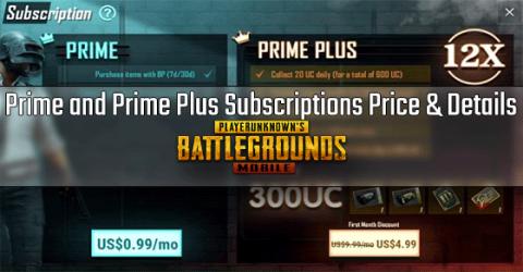 PUBG Mobile Subscriptions - Prime and Prime Plus Price & Details