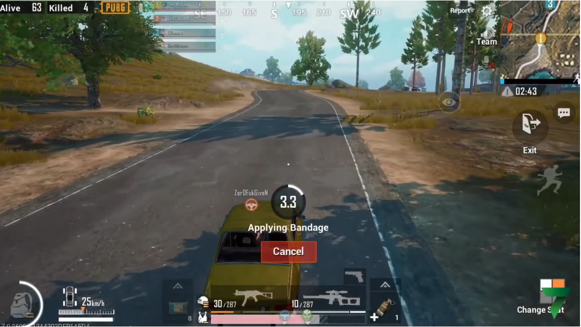 Using bandage in car in PUBG MOBILE - zilliongamer your game guide