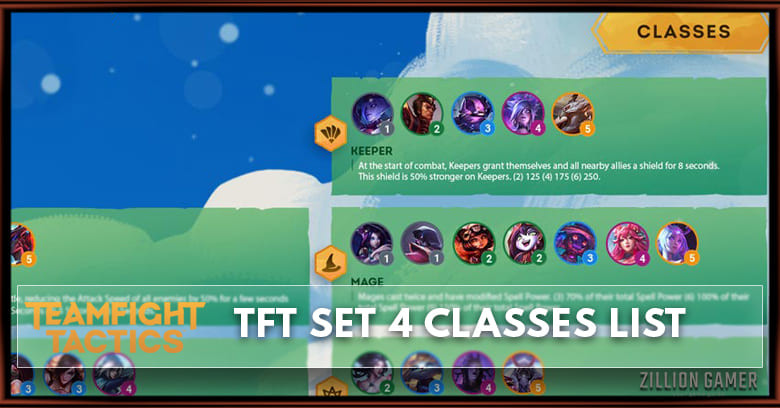 TFT Mobile Classes Cheat sheet Set 4 - zilliongamer