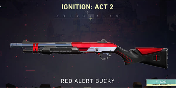 Act 2 Battle Pass Skin: Red Alert Bucky | Valorant - zilliongamer