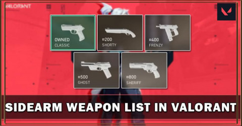 Valorant Sidearm Weapon List