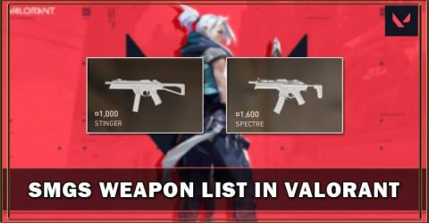 Valorant SMGs Weapon List