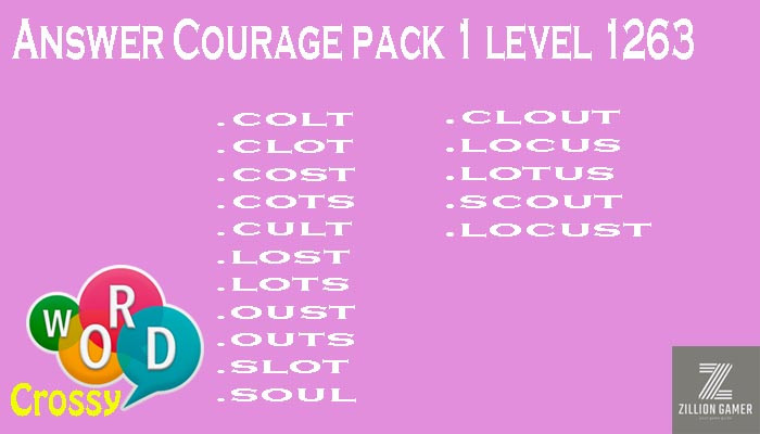 Word Crossy Level 1263 Courage Answer | Word Crossy | Zilliongamer your game guide