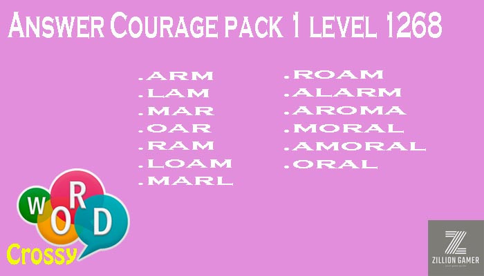 Word Crossy Level 1268 Courage Answer | Word Crossy | Zilliongamer your game guide