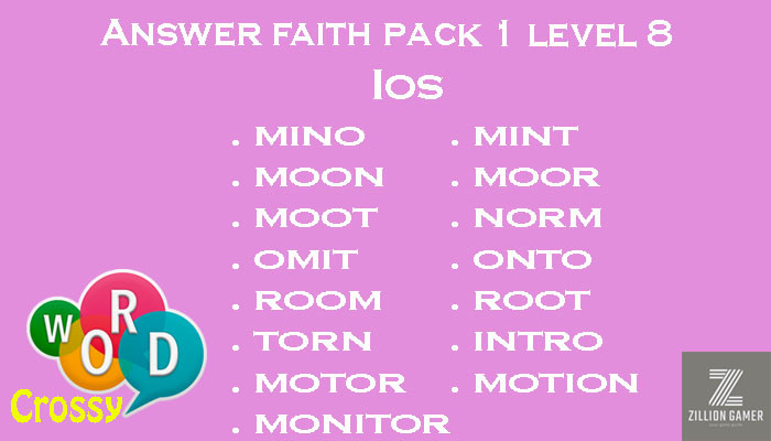 Pack 1 Level 8 Faith Ios Answer | Word Crossy | Zilliongamer your game guide