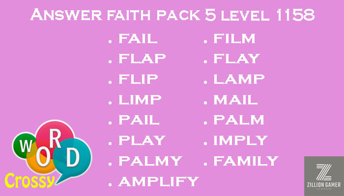 Pack 5 Level 1158 Faith Answer | Word Crossy | Zilliongamer your game guide