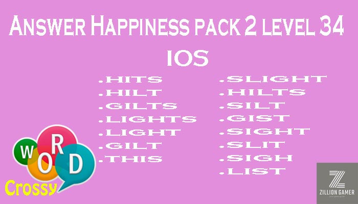 Pack 2 Level 34 Happiness Ios Answer | Word Crossy | Zilliongamer your game guide