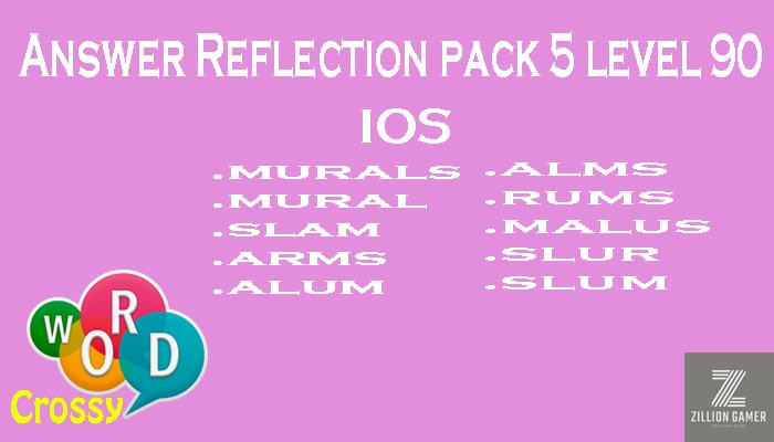 Pack 5 Level 90 Reflection Ios Answer | Word Crossy | Zilliongamer your game guide