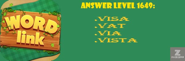 Answer Levels 1649 | Word Link - zilliongamer your game guide